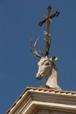 The mascot for Sant'Eustachio, at the nearby church (photo by Andrew Schneider)